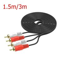 1pc 2 RCA Jack Stereo Dual RCA TV Audio Speaker Male to Male Patch Cable 1.5/3m