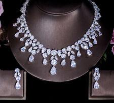 Lab Diamond Stone Necklace Earrings Set 18K White Gold Finish Bridal Jewelry