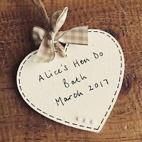 Personalised hen do gift plaque sign keepsake favour bride heart wooden