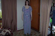 Ladies Navy and White Striped Long Dress Size 18