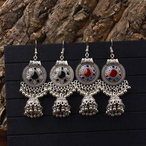 Vintage Women Bohemian Engrave Resin Tassel Drop Dangle Earrings Indian Jewelry