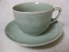 """6 Celadon Goldfish Cups & Sauers 2 3/8"""" Pale Green Embossed Fish Made in China"""