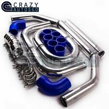 "2.5"" Aluminum Turbo Intercooler Piping Kit+Blue Silicon Hose+Bolt Clamps"