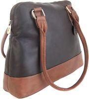 Gigi Othello Two Tone Dark Brown/Mid Brown Soft Leather Shoulder Handbag 8701