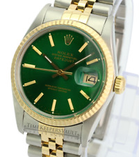Rolex Mens Datejust 16233 2-tone Green Dial 18K Gold Fluted Bezel  36mm