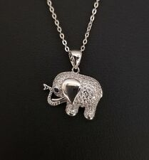 14K White Gold Finish Diamond Elephant Pendant Necklace
