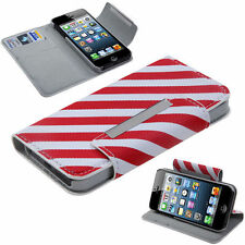 For Apple iPhone 5 5S SE Premium Wallet Case Pouch Flip Cover Red White Stripes
