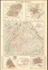 1874 ca LARGE ANTIQUE MAP- BARTHOLOMEW - SOUTHERN GERMANY, WITH TOWN PLANS
