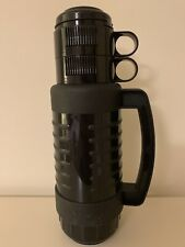 CLASSIC ALADDIN ROBUST PLASTIC Black 1Litre Flask Two Cups Carry Handle USA MADE