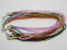 "20 Mixed Color Organza Ribbon Waxen Cord Necklace 17"" Lobster Clasp Fit Pendants"