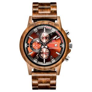 Men's Wooden Watch Calendar Dial Quartz Watch 3 Sub-Dials Multi-Function Watch