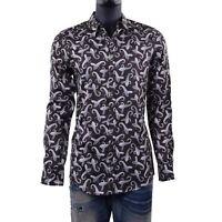 DOLCE & GABBANA RUNWAY GOLD Slim Fit Paisley Printed Cotton Shirt Brown 06105