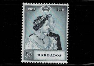 BARBADOS 1948 5s SILVER WEDDING MNH