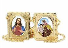 Gold Tone Scapular Medal Necklace, Mount Carmel & Sacred Heart of Jesus Medals