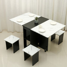 Drop-Leaf Folding Wooden Dining Table Set with 4 Chairs Seat Kitchen Furniture