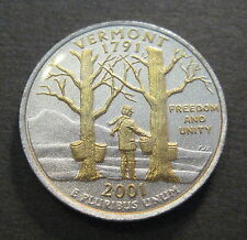 2001 Gold & Silver Highlighted State Quarter - Vermont - *No Reserve* (Q531)