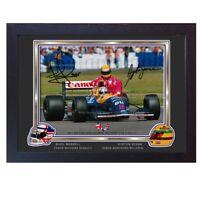 Ayrton Senna Nigel Mansell signed autograph Formula 1 photo print poster FRAMED