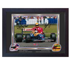 AYRTON Senna Nigel Mansell firmato AUTOGRAFO FORMULA 1 photo print poster incorniciato