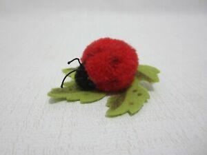 STEIFF Wool Ladybug Felt Maple Leaf Pin 1950s Seldom Found