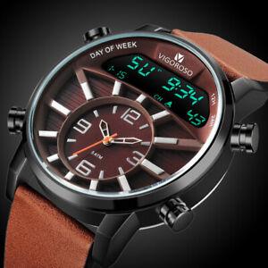 Men Luxury Wrist Watch Waterproof Date Chronograph Sport Quartz Analogue Digital