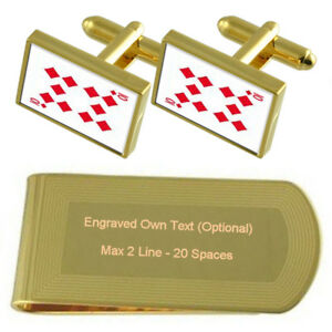 Diamond Playing Card Number 10 Gold-Tone Cufflinks Money Clip Engraved Gift Set
