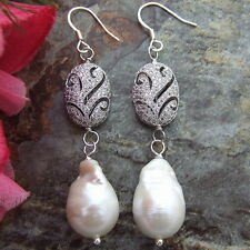 White Keshi Pearl Earrings 925 Silver Hook Cz Connector