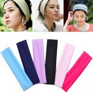 Fashion Sport Solid Color Stretchy Sweat-absorbing Headband Quick Dry Hair Band