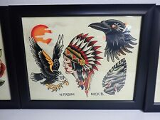 "Tattoo Flash Wall Art Sheet 11"" x 14"" - N. Fabini Nick B. Framed"
