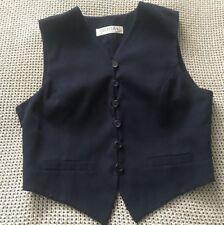 Womens CUE Vest Top Black Button Up Short Sleeve Crop Top  Corporate Size 10