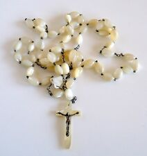 VINTAGE MOTHER OF PEARL BEADS ROSARY. VISIT MY ANTIQUE  ROSARIES COLLECTION