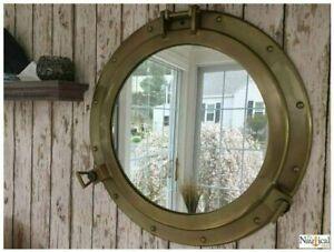"20"" Antique Brass Nautical Maritime Ship Boat Window Wall Mirror Porthole Gift"