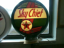 gas pump globe TEXACO SKY CHIEF & LIGHT STAND NEW repro. 2 GLASS LENSES