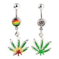 1Pcs Maple Leaf Belly Navel Ring Weed Button Body Piercing Jewelry Bar
