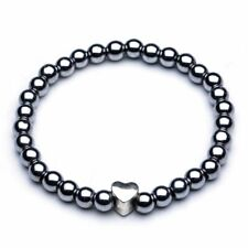 Black Magnetic Round Bead Hematite Bracelet Pain Relief Therapy Arthritis UK New