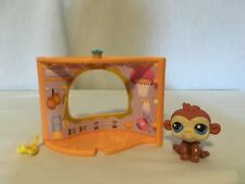 EUC LITTLEST PET SHOP MONKEY #351 GYM PET NOOK DISPLAY & PLAY SNAP FREE US SHIP