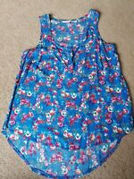 New Look Floral Summer Top Cotton Buttons Uk Size 10 Good Condition