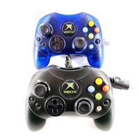 Original Microsoft Xbox S Controllers Lot Of 2 Clear Blue & Black OEM Tested