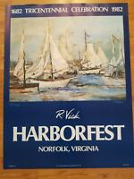 SCARCE LIMITED EDITION POSTER PRINT SAIL HARBORFEST BY R. VICK SIGNED, NUMBERED