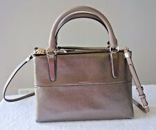 NWT Coach Mini Borough Metallic Leather Satchel Crossbody Bag  32322  New $378