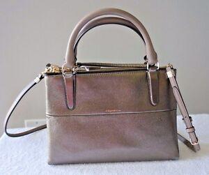 NWT Coach Mini Borough Metallic Leather Satchel Crossbody Bag  32322  New $378