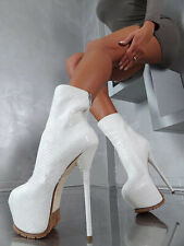 Sexy Womens Stilettos Ankle Boots Platform Super High Heel Clubs Shoes Big Size