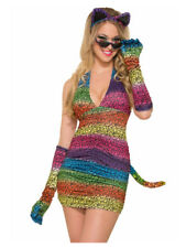 Womens Sexy Rainbow Leopard Print Party Animal Long Gloves
