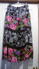 NOTATIONS - Pull-On Elastic Waist Black/White & Floral Tiered Long SKIRT -Small