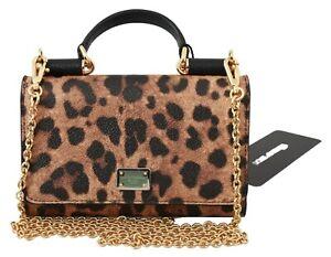 DOLCE & GABBANA Bag PVC Brown Leopard Print Gold Chain Phone Hand Purse RRP $700