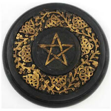 """NEW Hand-Painted Wood Altar Pentacle 9"""" Gold and Black Pentagram Wall Hanging"""