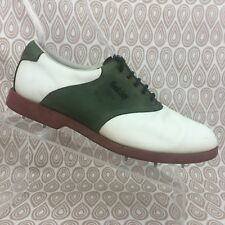 Vintage FootJoy Golf Shoes SZ 7.5 W Men's White Green Leather Metal Spike S217