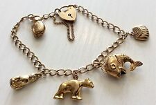 Super Quality Ladies Vintage 9ct Gold Lovely Charm Bracelet With Charms Nice