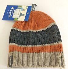 Gelert Boys Knitted Beanie Hat One Size Stripe Acrylic Orange Grey Outdoor NEW