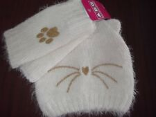 ABG ACCESSORIES - GIRLS - HAT / MITTEN SET - WHITE - ONE SIZE   (AC-28-131)