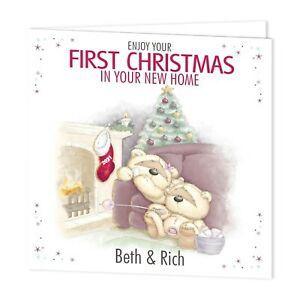 PERSONALISED CHRISTMAS XMAS CARD - IN YOUR NEW HOME- FIZZY MOON BEARS- ADD NAMES